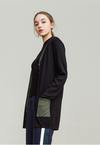 KLAPS black Merino Two-tone Cardigan with Front Pockets DD26CAA88F0C9EGS_1