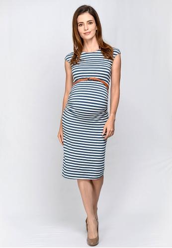 1c2f94d88f 9months blue Blue Maternity Belted Midi Dress E1374AA6D907E4GS 1
