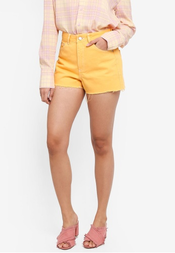 TOPSHOP yellow High Waist Denim Mom Shorts A1E49AAFC64411GS_1