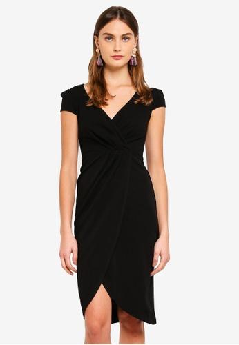 Goddiva black Front Pleat Tulip Midi Dress 922AFAA62983BBGS_1