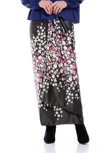 BIDADARI black and pink and green and multi Floral Printed Sarong Wrap D1A36AAA9EBBF7GS_1