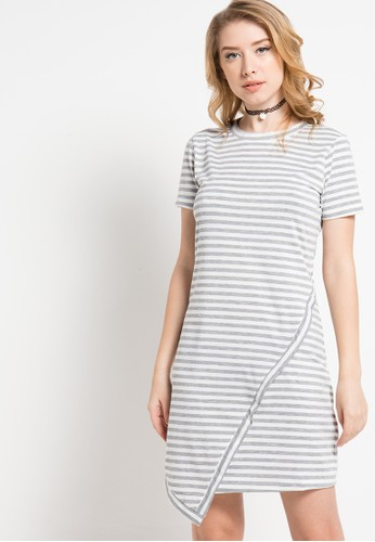 sophistix white and grey Elis Striped Knit Assymetrical Dress SO829AA69KZUID_1