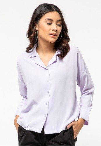 COLORBOX purple Lilac V-Neck Shirt 130A2AA2F4C83EGS_1