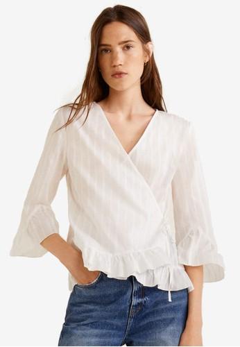 Mango white Striped Cotton Blouse 9E41FAA5390960GS_1