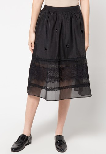 WHITEMODE black Charlotte Skirt WH193AA79REIID_1