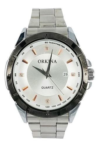 Chronomart silver Orkina Men's Quartz Movement  Steel Bracelet Strap Wrist Watch CH783AC45XIWPH_1