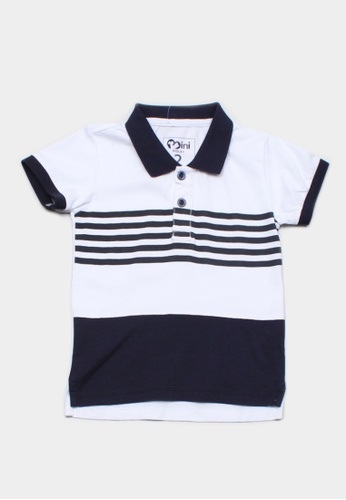 Mini Moley navy Striped Colour Block Boy's Polo T-Shirt E8BEEKA0A74D28GS_1