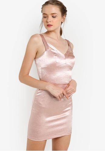 Miss Selfridge pink Cutout Shimmer Dress MI665AA23HNKMY_1