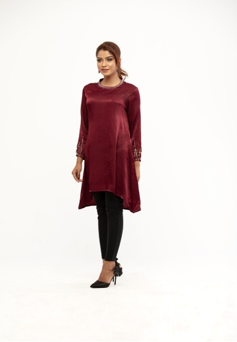 Le Reve red Le Reve A-line Maroon High low Tunic 99710AA36D7963GS_1