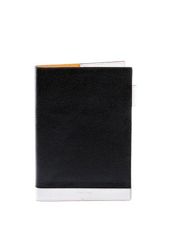Enjoybag white Dennis's Italian Goat Leather Colorblock Notebook Cover EN763AC56NZJHK_1