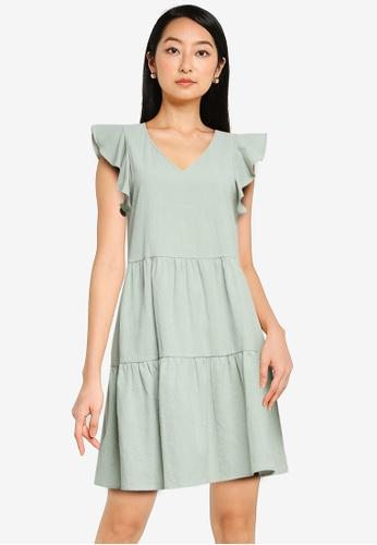 ZALORA BASICS green Flutter Sleeve Mini Dress 27658AA0279530GS_1