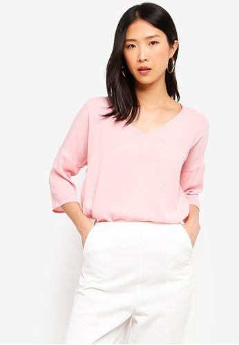 ZALORA BASICS pink Basic V-Neck Half Sleeves Top BAAAEAA9A9E44BGS_1
