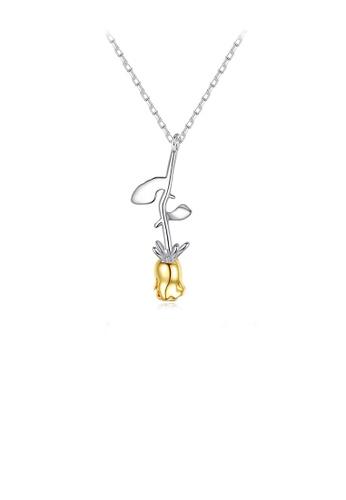 Glamorousky 銀色 925純銀時尚優雅玫瑰花吊墜配項鏈 647C4ACAA6AF47GS_1