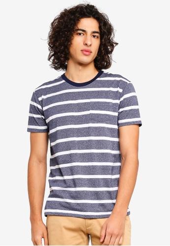 Penshoppe 海軍藍色 口袋條紋T恤 85FAEAA970745BGS_1