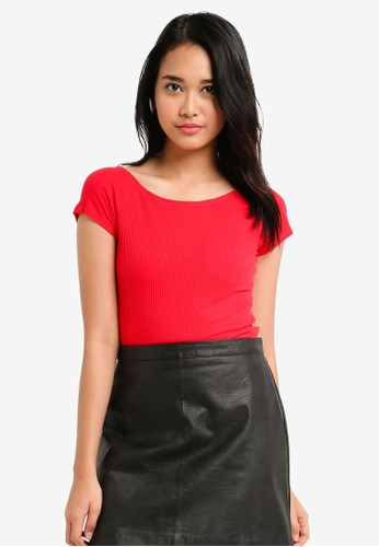 Factorie red Cross Back Rib Short Sleeve Top 81C54AADC11860GS_1