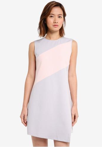 ZALORA pink Colourblock Panel Dress 004A0AA1550FCBGS_1