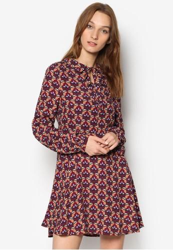 印花修身長袖連身裙, 服飾,zalora 手錶 洋裝