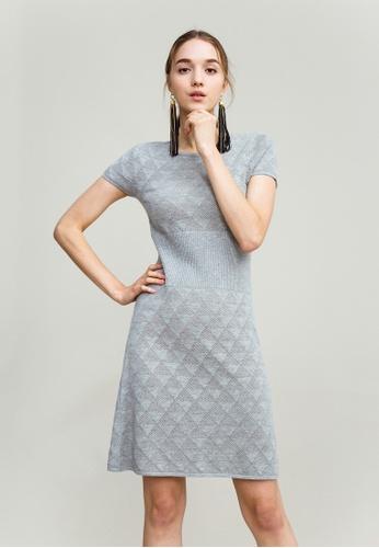 KLAPS grey Openwork Knit Dress 7DF54AA5E9D403GS_1