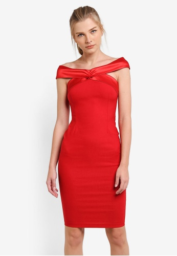 Vesper red Laurette Satin Band Bardot Dress VE733AA0S78AMY_1