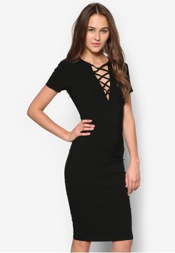 交叉esprit服飾帶短袖洋裝, 服飾, 服飾