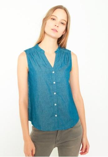 DENIZEN blue DENIZEN Women's Lightweight Sleeveless Blouse - Medium Blue DZ-59041-0863 CB1C2AA7DFE5D0GS_1