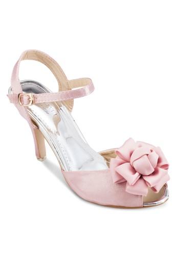 Oesprit 童裝ccasion 雪紡花飾露趾繞踝高跟鞋, 女鞋, 魚口鞋