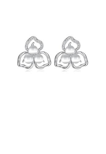 Glamorousky white Fashion Elegant Flower Chrysoberyl Cat Eye Opal Stud Earrings with Austrian Element Crystal 8A780AC4FA8DE1GS_1