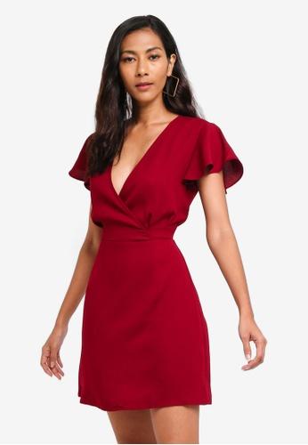 ZALORA BASICS red Basic Short Sleeves Wrap Dress 6C483AADE5E384GS_1
