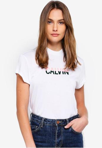 Calvin Klein white Short Sleeve Fashion Logo Tee 11F58AA376599DGS_1