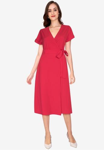 ZALORA WORK 紅色 Midi 綁帶洋裝 3E6CBAACDF0D5DGS_1