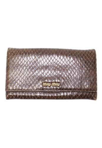MIU MIU brown Pre-Loved miu miu Miu Miu Bifold Continental Python Wallet 7F8E1AC60EBD16GS_1