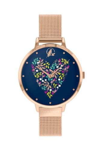 Sara Miller Sara Miller London Womens 34mm Heart - Blue/Rose Gold Mesh Strap (SA4080) CB994ACA5EABBBGS_1