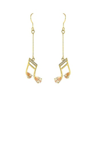Glamorousky orange Enchanting Music Sign Earrings with Silver and Orange Austrian Element Crystals 69870AC6EE1FFCGS_1
