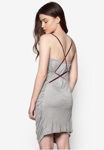 交叉背帶抓褶洋裝, 服esprit hk outlet飾, 派對洋裝
