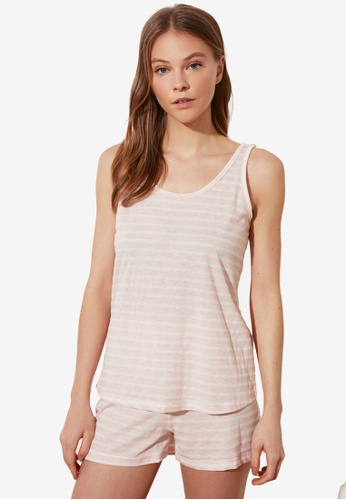 Trendyol 粉紅色 條紋針織Pajamas Set 55FB0AA98C44A1GS_1