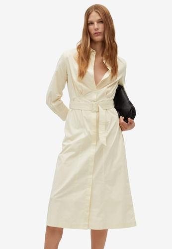 Mango beige Cotton Shirt Dress 00246AA85856F0GS_1