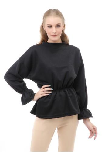 Hamlin black Cheva Blouse Wanita Lengan Pendek Kerut Pinggang Material Cotton ORIGINAL - Black 0E774AAE7CB6D8GS_1