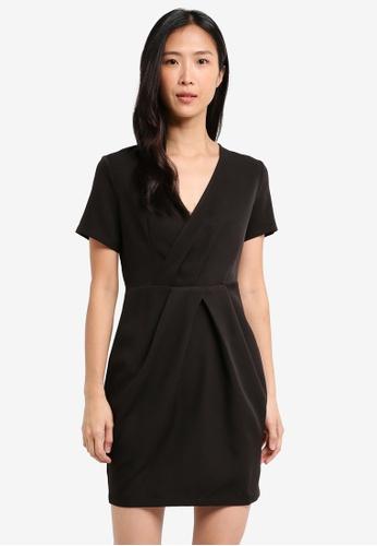 ZALORA black Wrap Pleated Dress 3E5B4AA83C1382GS_1