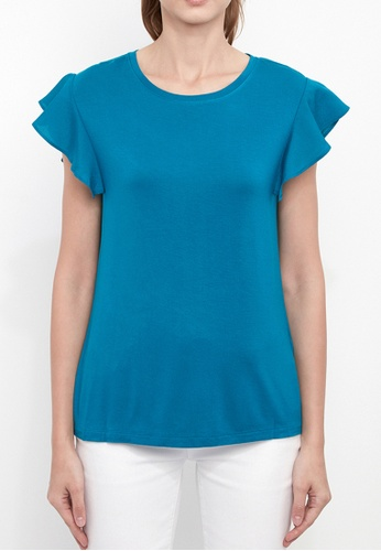 Dkny blue DKNY Women Ruffle Sleeved Top DAFDDAA677A76CGS_1