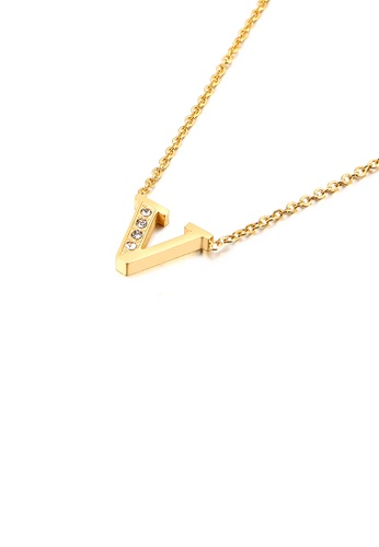 Glamorousky white Fashion Personality Plated Gold English Alphabet V 316L Stainless Steel Pendant with Cubic Zirconia and Necklace 5EA4DACEE5915CGS_1