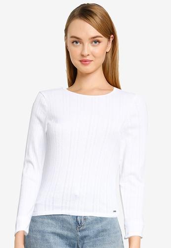 Hollister white Long Sleeve Slim Pointelle Liability Top 3FD82AA8C82664GS_1