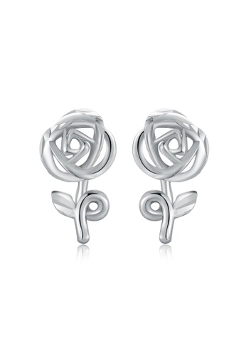 MaBelle silver 14K White Gold Rose Stud Earrings MA584AC2UQTDHK_1