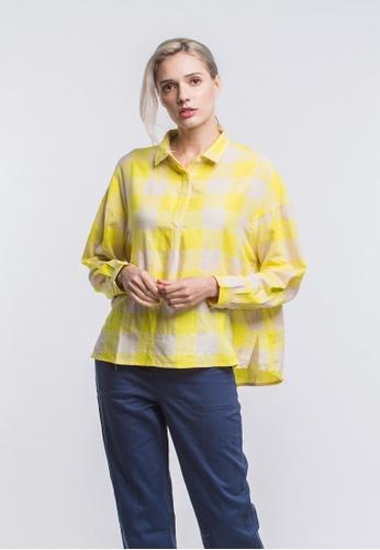 Roamers yellow Batten loose fit blouse B3141AA864BD61GS_1
