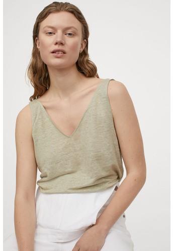 H&M green Linen vest top 6D30CAA247647EGS_1