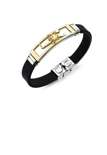 Glamorousky silver Fashion Personality Plated Gold Hollow Scorpion Geometric 316L Stainless Steel Silicone Bracelet 270E8AC206D88EGS_1