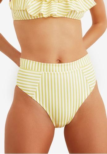 Trendyol yellow Striped High Waist Bikini Bottom 34188US129C39CGS_1