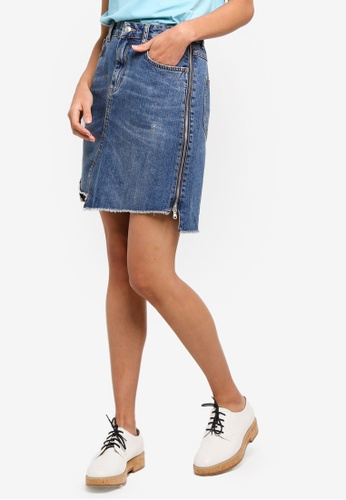 Sisley blue Denim Skirt. 5AFACAAB14E372GS_1