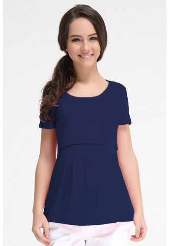 Bove by Spring Maternity navy Knitted Short Sleeved Aggie Empire Top LTN5705 SP010AA60SATSG_1