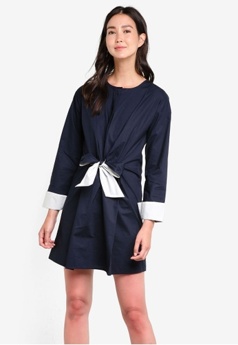 WAREHOUSE navy Contrast Tie Cotton Dress WA653AA96GOLMY_1
