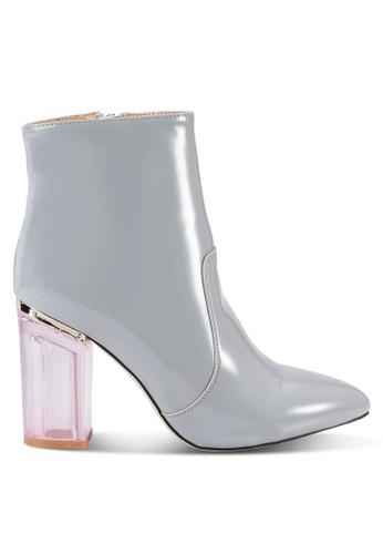 透明粗高跟高筒靴, 女鞋, zalora taiwan 時尚購物網鞋